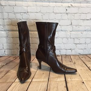 Etienne Aigner brown stretch pleather heeled boot